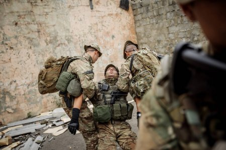 special forces soldiers with weapons during the rescue operation