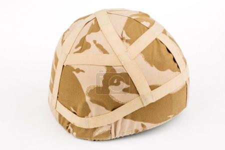 Photo for Real British Army helmet with desert camo cover - Royalty Free Image