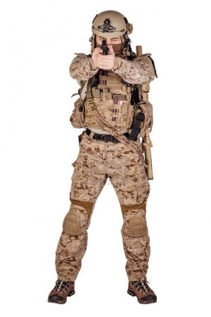 American soldier with rifle on white background. army, military and people concept