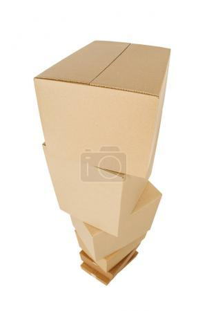 Pile of cardboard boxes on a white background