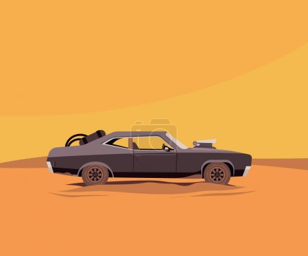 Illustration for Vector Flat Illustration of a Vehicle for the Apocalypse - Royalty Free Image