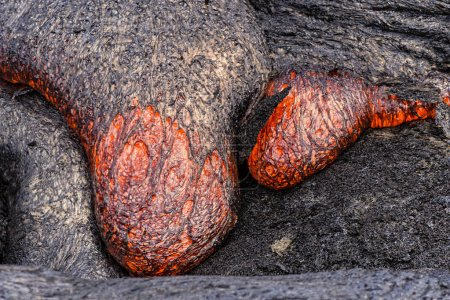 Lava flowing near Puuoo Crater Big Island Hawaii