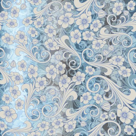 Seamless abstract blue pattern. seamless paisley attern. Orient or russia design. luxury ornamentation, floral wrapping wallpaper, swatch fabric for decoration and design.