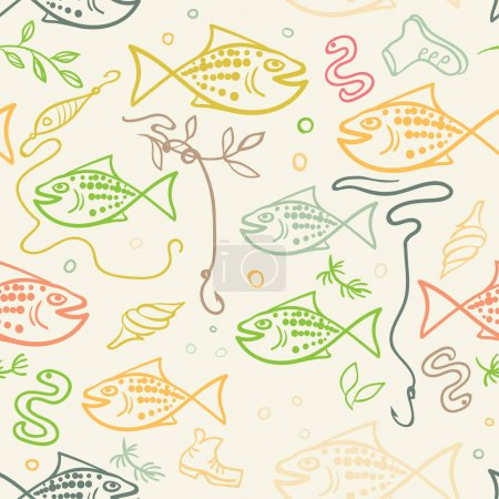 seamless pattern with hand drawn funny fishes in sketch style. Decorative endless marine background. Fabric design.
