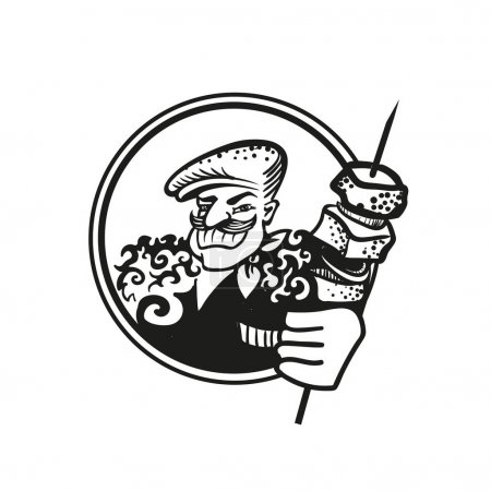 Black and white drawing of a Georgian cook in a cap and a lamb with a skewer of shish kebabs.