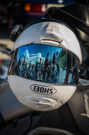 ULIYANOVSK, RUSSIA 23. 09. 2017. Open of the season-2015, Ulyanovsk, in the square in front of Akvamoll Zasviyazhie. Close-up helmet