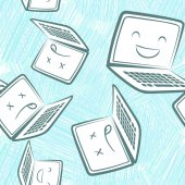 Hand-drawn vector seamless pattern with sad laptops and netbooks and laser discs