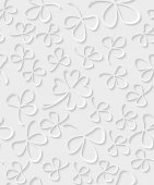 Vector Seamless 3D white paper cut Pattern Clover for St Patricks Day Shamrock wrapping paper ornament clover foliage spring pattern floral background wallpaper irish trefoil