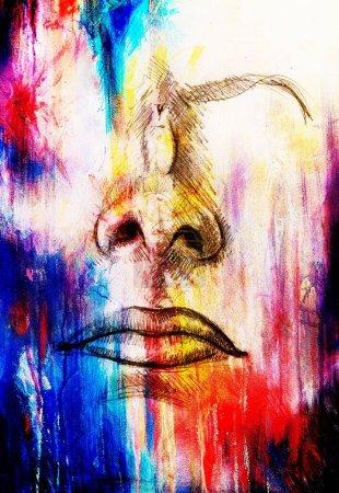 Photo pour Esquisse artistique des parties du visage, du nez et de la bouche, sur fond abstrait structuré coloré - image libre de droit