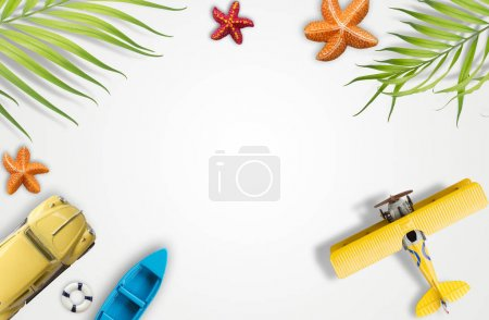 Summer vacation accessories with tropical palm leaves,  holidays