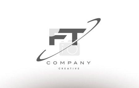 Illustration pour Ft f t gris swoosh blanc alphabet entreprise logo ligne conception vectoriel icône modèle - image libre de droit