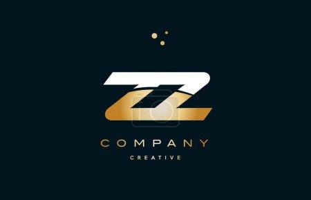 zz z  white yellow gold golden luxury alphabet letter logo icon