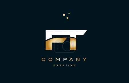 Illustration pour Ft f t blanc or jaune or métal métallique luxe alphabet société lettre logo conception vectoriel icône modèle - image libre de droit