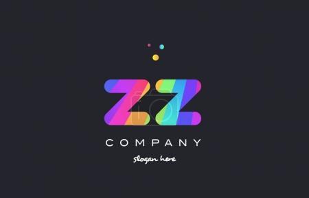 zz z  colored rainbow creative colors alphabet letter logo icon