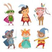 Cute animal kids in different costume Cartoon vector illustrati