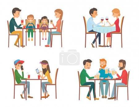 Illustration for Collection of vector illustration on the theme of people in cafe. Isolated illustration on white background - Royalty Free Image