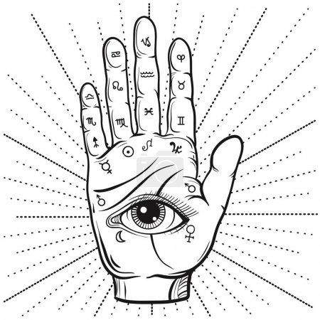Illustration for Fortune Teller Hand with Palmistry diagram, hand-drawn all seeing eye. Vector vintage illustration for tattoo template, magic alchemy zodiac symbol. - Royalty Free Image