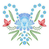 Embroidery stitches with spring flowers forget me not Vector fashion ornament on white background for textile fabric traditional folk floraldecoration