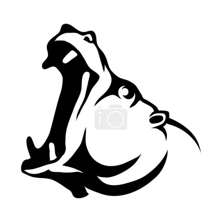 Illustration for Hippo head Logo, vector illustration - Royalty Free Image
