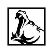Hippo head in square Logo vector illustration