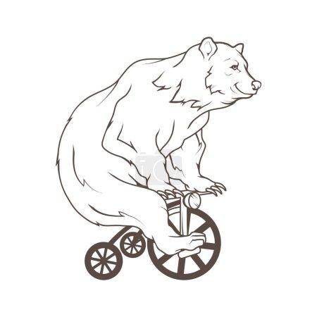 bear on bycicle logo,  illustration