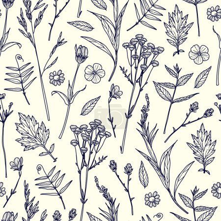 Seamless pattern with plants