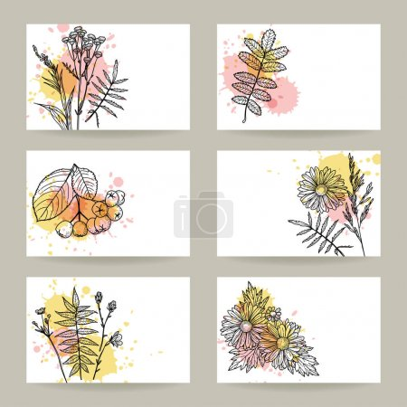 Illustration for Set templates banners or cards with flowers and floral elements. Freehand drawing - Royalty Free Image