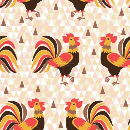 Seamless pattern with cocks