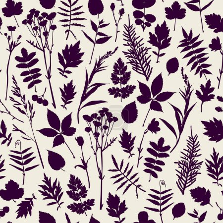 Illustration for Seamless pattern with plants. Freehand drawing - Royalty Free Image