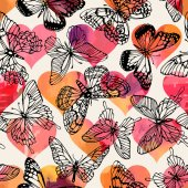 Seamless pattern with butterflies Freehand