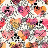 Seamless pattern with skull and dahlia Freehand drawing