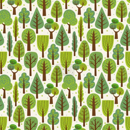 Seamless pattern with trees. Summer