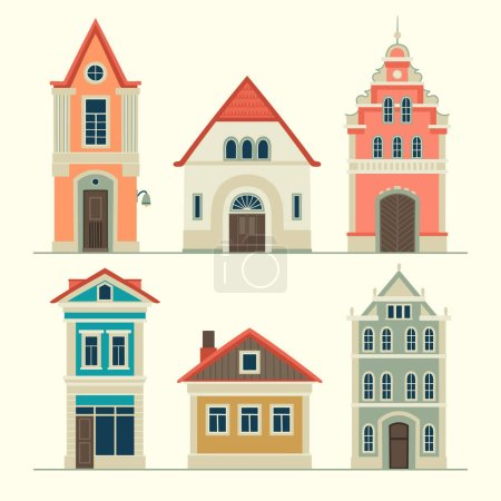 Illustrations of old houses. Stylized