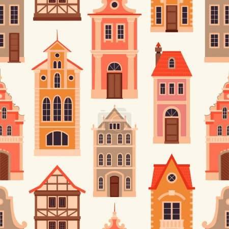 Seamless pattern with old houses.