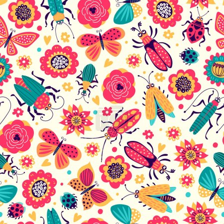 Seamless pattern of illustrations with