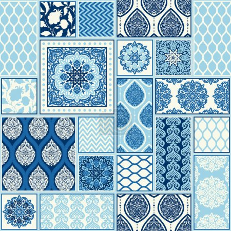 Seamless background, patchwork tiles