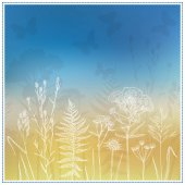White floral silhouettes on blue and yellow background