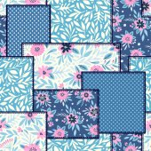 Patchwork background with different floral patterns vector illustration