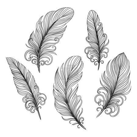 Illustration for Template seamless pattern with decorative feathers. Freehand drawing - Royalty Free Image