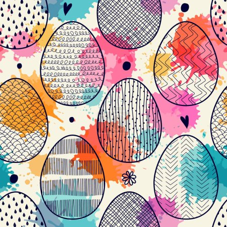 Illustration for Seamless pattern with Easter eggs. Freehand drawing - Royalty Free Image
