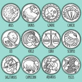 Set illustration with cartoon zodiac signs Freehand drawing