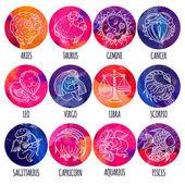 Set illustration with cartoon zodiac signs
