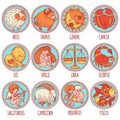 Set illustration with cartoon zodiac signs