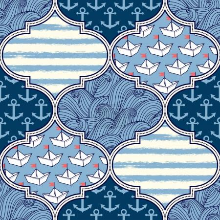 Illustration for Seamless pattern with nautical elements, patchwork tiles. Freehand drawing - Royalty Free Image