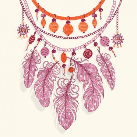Illustration with a necklace. Beads and feathers.