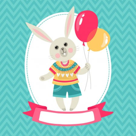 Template greeting card with rabbit