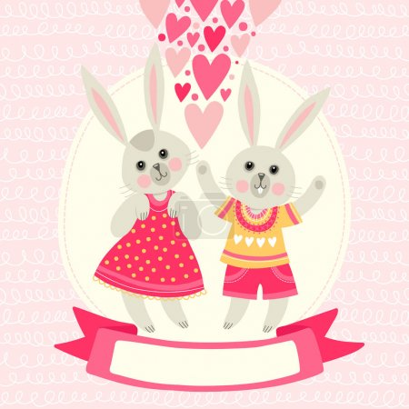 Template greeting card with rabbits