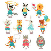 Set of cute animals Cartoon style characters