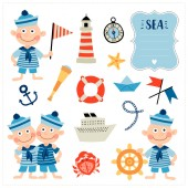 Set with nautical elements and boys Cartoon style