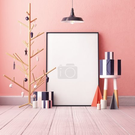 Photo for Blank poster in room interior with creative decorated christmas tree without needles, lamp, boxes and candles - Royalty Free Image
